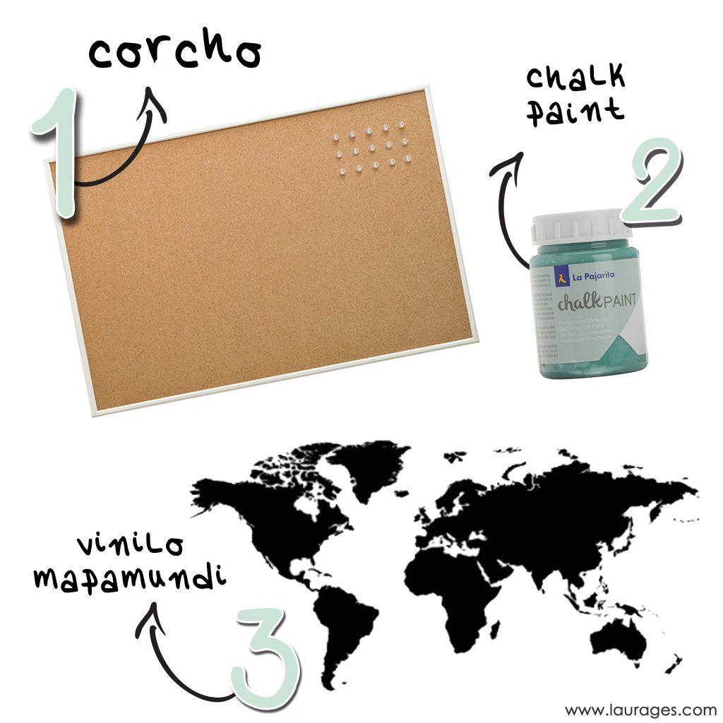 Materiales DIY Mapamundi de corcho