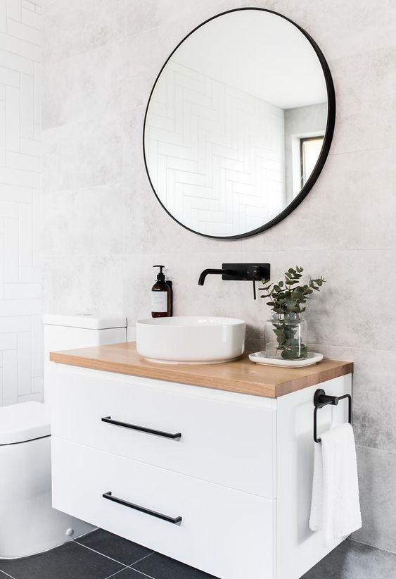 espejos negros para baños
